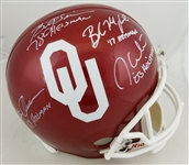 Oklahoma Heisman Winners (Mayfield, White, Owens & Simms) Signed Full Size Helmet (JSA Witness COA)