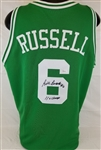 "Bill Russell ""#6 11x Champs"" Signed Boston Celtics Custom Jersey (JSA Witness COA)"