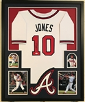 Chipper Jones Signed Atlanta Braves Custom Jersey Framed Display (JSA Witness COA)