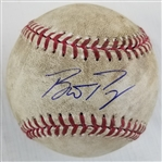 Buster Posey Signed Game Used 2017 Giants at Dodgers OML Baseball (PSA/DNA & MLB )