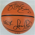Julius Erving, Magic Johnson & Larry Bird Signed NBA Replica Game Basketball (PSA/DNA LOA)