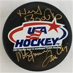 Herb Brooks, Mike Eruzione & Jim Craig Signed USA Hockey Puck (JSA LOA)
