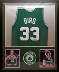 Larry Bird Signed Boston Celtics Custom Jersey Framed Display (PSA COA & Bird Hologram)