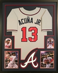 Ronald Acuna Jr. Signed Atlanta Braves Custom Jersey Framed Display (JSA Witness COA)