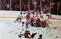 1980 USA Miracle On Ice Hockey Team Signed 18x28 Foamboard Mounted Photo w/ 20 Signatures (JSA LOA)
