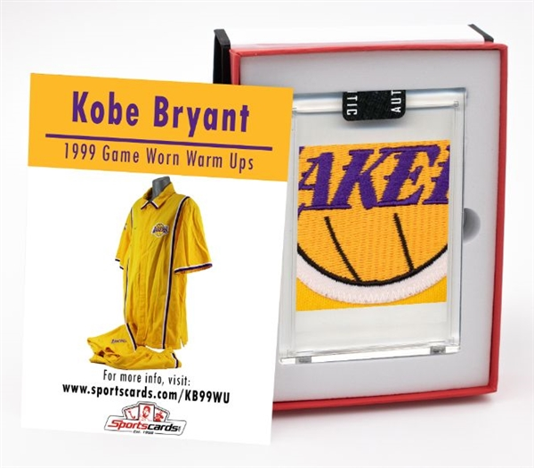 1998-99 Kobe Bryant Game Worn L.A. Lakers Warm Up Suit Swatch Box! Look For Nameplate Letters, Patches, NBA & Team Logos, Tags & More!