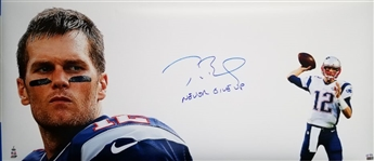 "Tom Brady ""Never Give Up"" Signed New England Patriots Super Bowl XLIX 20x46 Photo Lmt Ed. #7/12 (Tristar Certified)"