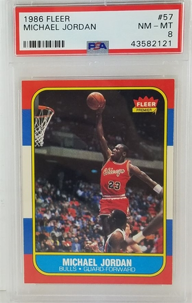 Michael Jordan Chicago Bulls 1986 Fleer Rookie Basketball Card #57 - Graded NM-MT 8 (PSA)