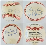 Hank Aaron, Willie Mays & Stan Musial Signed Lmt Ed. ONL Leonard Coleman Baseball - Each w/ Career Total Bases Inscription (JSA LOA)