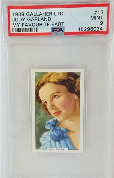 Judy Garland 1939 Gallaher Ltd. My Favourite Part Tobacco Card - Graded Mint 9 (PSA)