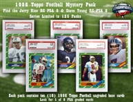 1986 Topps Football Mystery Pack - 10 Ungraded Base Cards Per Pack - Plus Look for the Jerry Rice RC PSA 9 ($1500 Value) & Other Graded Cards