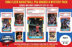 1986 Fleer Basketball PSA Graded 8 Mystery Pack - Series Includes Complete Set #1-132 - Look For The Michael Jordan Rookie Card!