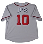 Chipper Jones Signed Atlanta Braves Majestic MLB CoolBase Jersey (Beckett COA)