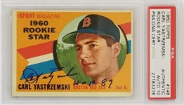 "Carl Yastrzemski ""HOF 89"" Signed Boston Red Sox 1960 Topps RC #148 Rookie Card - Auto Graded Gem Mint 10! (PSA)"