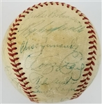 1956 Brooklyn Dodgers Team Signed ONL Warren Giles Baseball w/ 28 Sigs (8 HOFers) Inc. Robinson, Campanella, Koufax (JSA LOA)