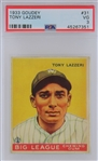 Tony Lazzeri NY Yankees 1933 Goudey #31 Rookie Baseball Card - Graded VG 3 (PSA)