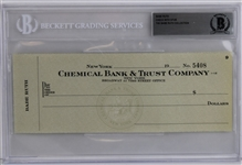 The Babe Ruth Collection - Babe Ruth Blank Personal Check & Stub #5408 (Beckett Encapsulated)