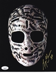 Gerry Cheevers Signed Boston Bruins Vintage Hockey Mask 8x10 Photo (JSA COA)
