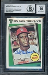 Bob Gibson (d. 2020) Signed 1988 Topps #664 Turn Back The Clock Baseball Card - Auto Graded 10! (BGS) *From Gibsons Personal Collection*