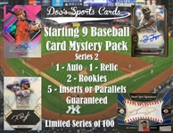 Starting 9 Baseball Card Mystery Pack Series 2 - (1) Autograph and (1) Relic Per Pack!